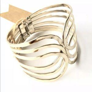 Jewelry - Gold Clamper Bracelet Wide Bracelet Gold plate